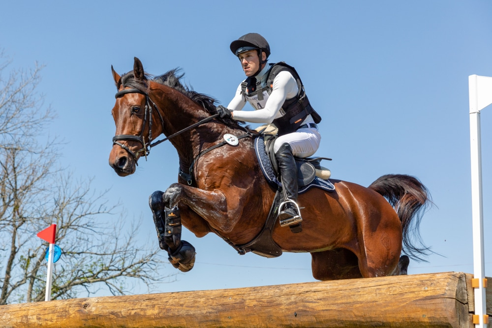 Horse jumping cross country with boots